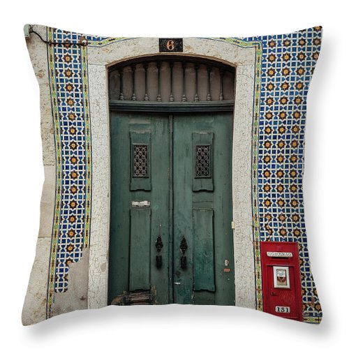 Old Red Mailbox Throw Pillow featuring the photograph Door No 6 by Marco Oliveira