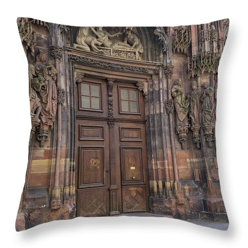 Alsace Throw Pillow featuring the photograph Door Of St Lawrence Our Lady Of Strasbourg by Teresa Mucha