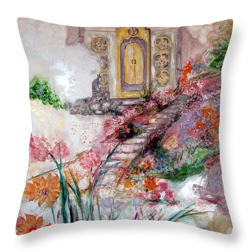 Floral Landscape With Mysterious Architectural Elements Throw Pillow featuring the painting Door To Mysteries by Sarah Wharton White