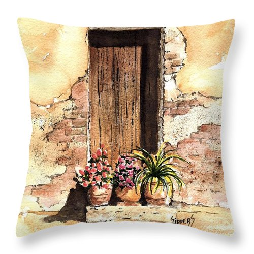 Door Throw Pillow featuring the painting Door With Flowers by Sam Sidders