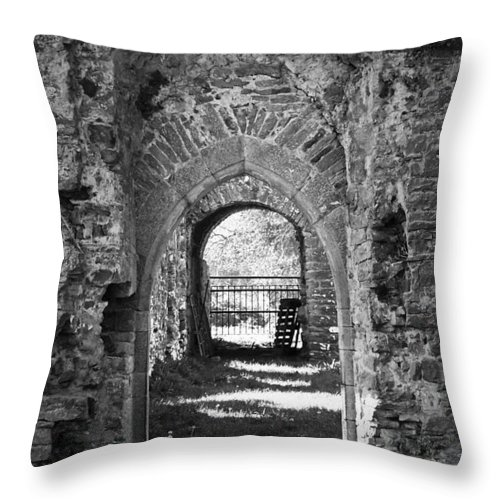Irish Throw Pillow featuring the photograph Doors at Ballybeg Priory in Buttevant Ireland by Teresa Mucha