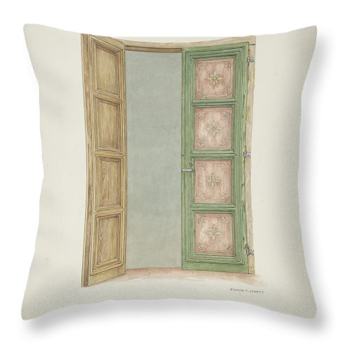 Throw Pillow featuring the drawing Doors by Edward Jewett