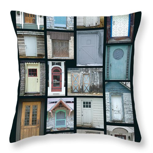 Doors Throw Pillow featuring the photograph Doors Of Door County Poster by Tim Nyberg