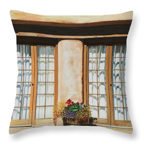 Usa Throw Pillow featuring the painting Doors Of Santa Fe by Mary Rogers