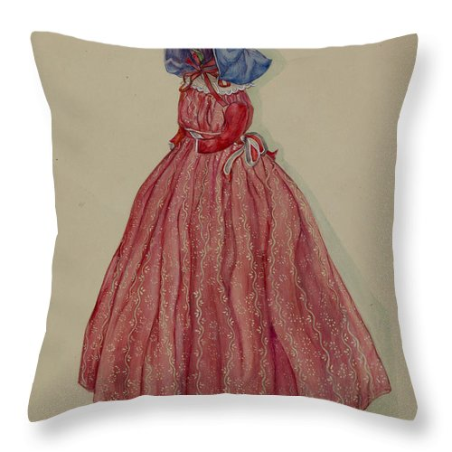 Throw Pillow featuring the drawing Doorstop Doll by Rosa Burger
