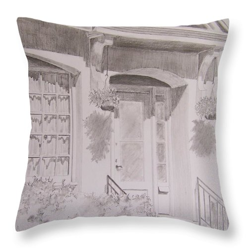 Doorway Throw Pillow featuring the drawing Doorway by Jackie Mueller-Jones