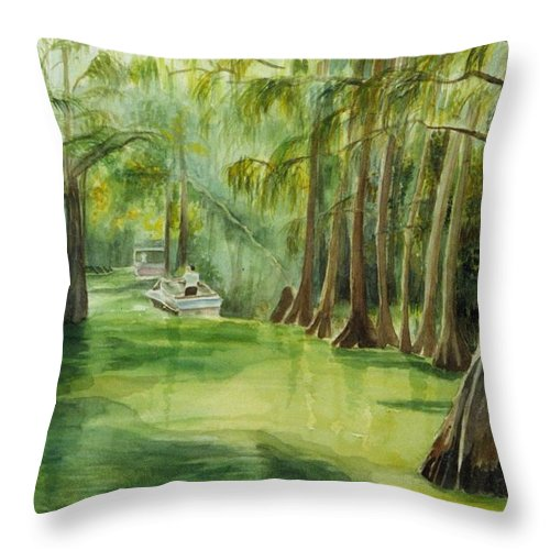 Passage Between Lakes Throw Pillow featuring the painting Dora Passage by Judy Swerlick