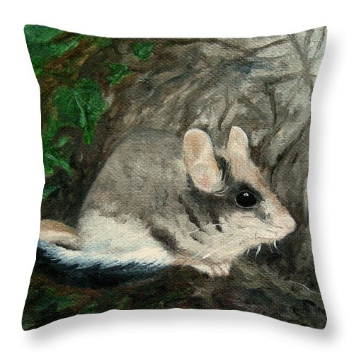 Mouse Throw Pillow featuring the painting Dormouse by FT McKinstry
