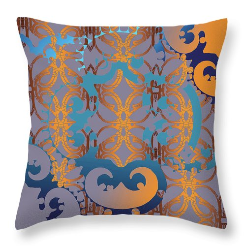 Blue And Gold Throw Pillow featuring the digital art Doro Dallas by Ceil Diskin