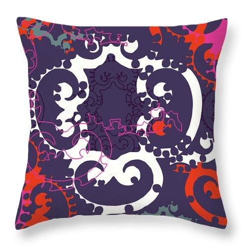 Purple Throw Pillow featuring the digital art Doro Fall by Ceil Diskin