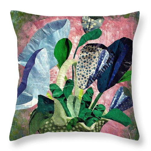 Floral Throw Pillow featuring the mixed media Dot Bouquet by Sarah Loft