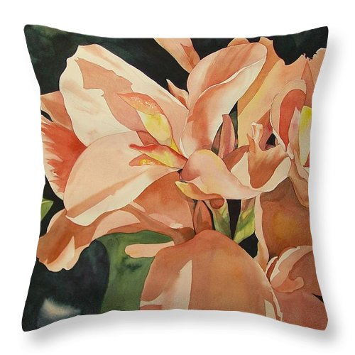 Floral Throw Pillow featuring the painting Dot's Favorites by Marlene Gremillion