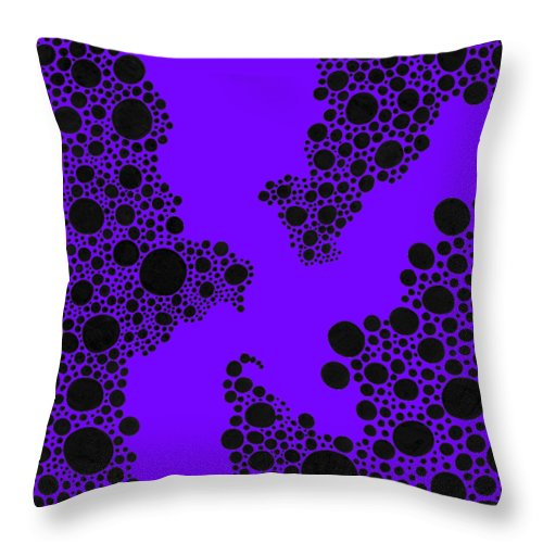 Black And White Throw Pillow featuring the drawing Dots Or Spots? by A Mad Doodler