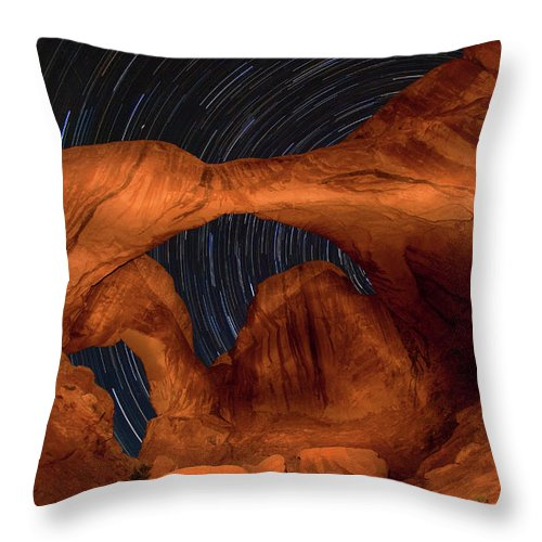 3scape Throw Pillow featuring the photograph Double Arch Star Trails by Adam Romanowicz