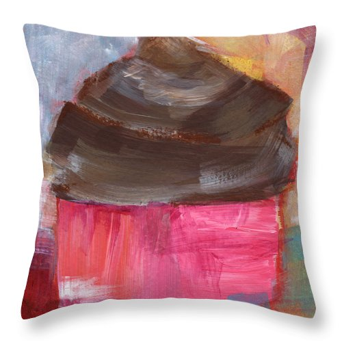 Cupcake Throw Pillow featuring the mixed media Double Chocolate Cupcake- Art By Linda Woods by Linda Woods