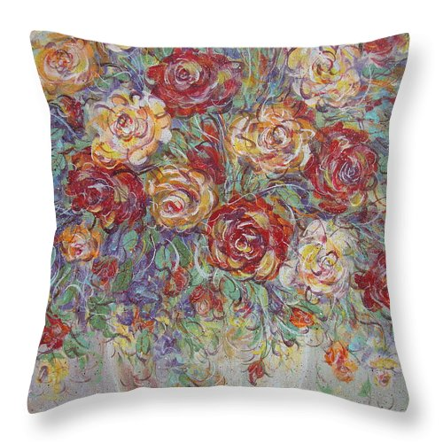Flowers Throw Pillow featuring the painting Double Delight. by Natalie Holland