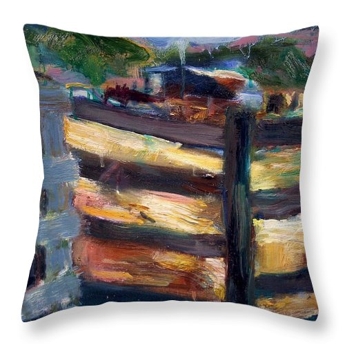 Dornberg Throw Pillow featuring the painting Double Fenced Corral by Bob Dornberg