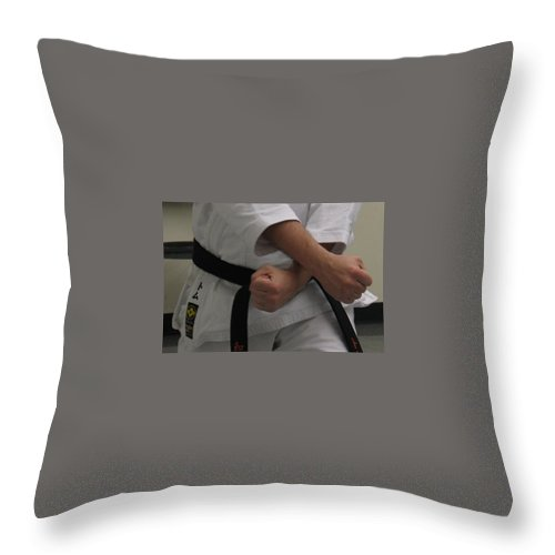 Karate Throw Pillow featuring the photograph Double Fisted by Kelly Mezzapelle