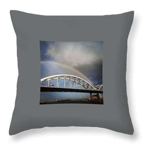 Rainbow Throw Pillow featuring the photograph Double Rainbow by Michelle Willoughby