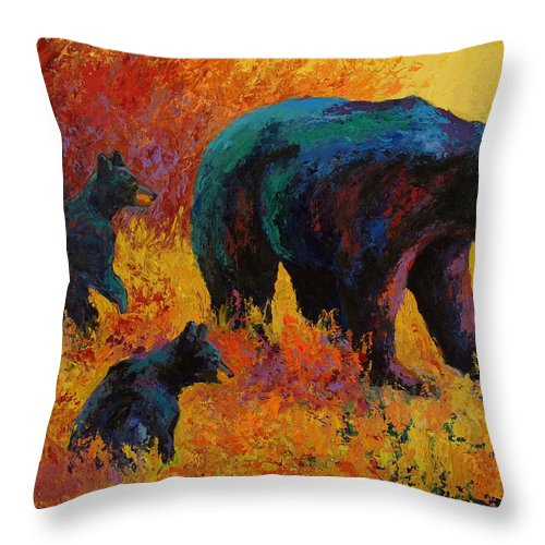 Bear Throw Pillow featuring the painting Double Trouble - Black Bear Family by Marion Rose