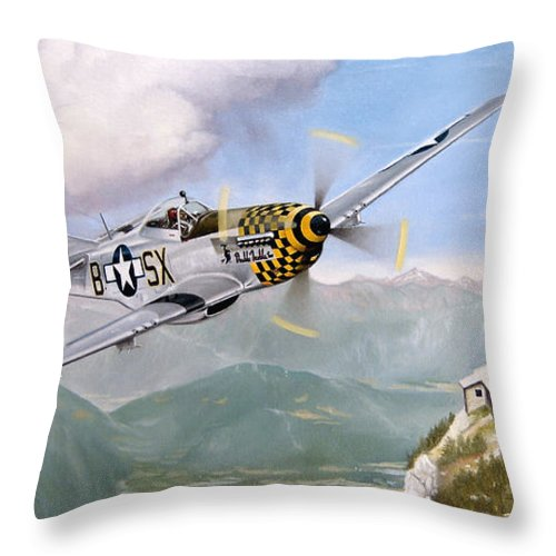 Military Throw Pillow featuring the painting Double Trouble Over The Eagle by Marc Stewart