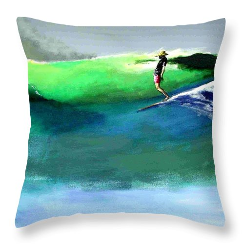 Surf Throw Pillow featuring the painting Doug Working Late Off Encinitas by Paul Miller
