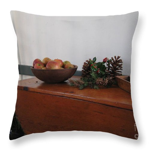 Wood Breadbox Throw Pillow featuring the photograph Dough Box Table At Christmas by Nancy Patterson