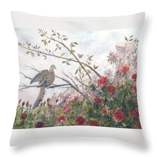Dove; Roses Throw Pillow featuring the painting Dove and Roses by Ben Kiger