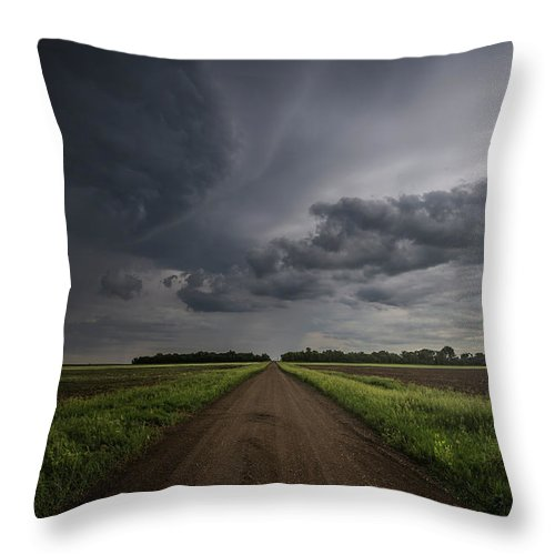 Gravel Road Throw Pillow featuring the photograph Down A Little Dirt Road by Aaron J Groen