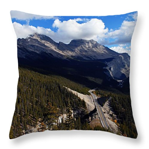Banff National Park Throw Pillow featuring the photograph Down In The Valley by Larry Ricker