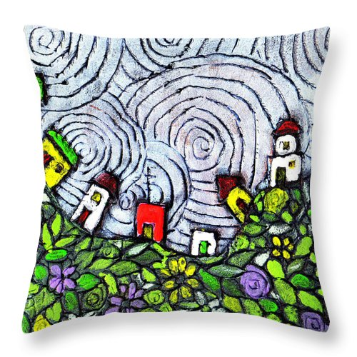 Folk Art Throw Pillow featuring the painting Down In The Valley by Wayne Potrafka