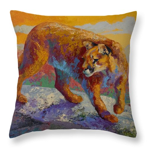 Mountain Lion Throw Pillow featuring the painting Down Off The Ridge - Cougar by Marion Rose