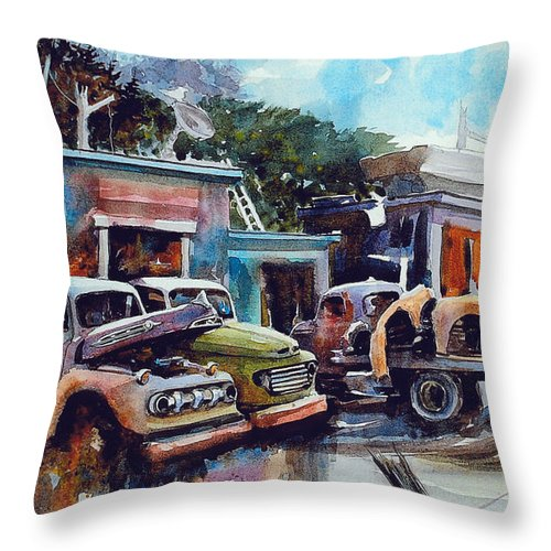 Trucks Throw Pillow featuring the painting Down on the Lower Road by Ron Morrison