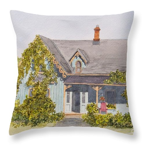 House Throw Pillow featuring the painting Down the road.... by Jackie Mueller-Jones