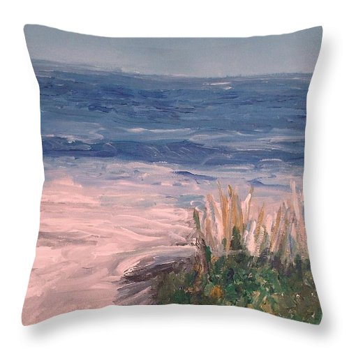 Ocean Throw Pillow featuring the painting Down The Shore by Eric Schiabor