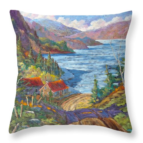 Landscape Throw Pillow featuring the painting Down To The Lake by Richard T Pranke