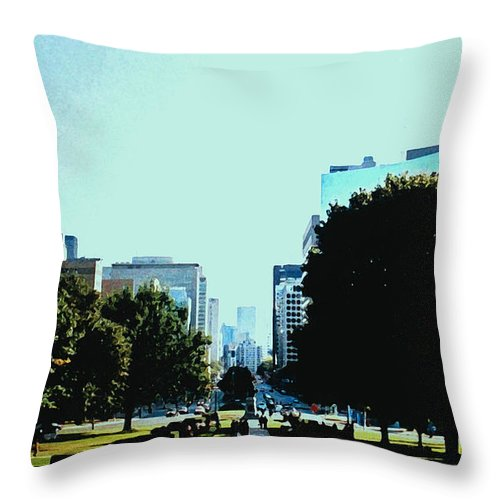 Toronto Throw Pillow featuring the photograph Down University Avenue by Ian MacDonald