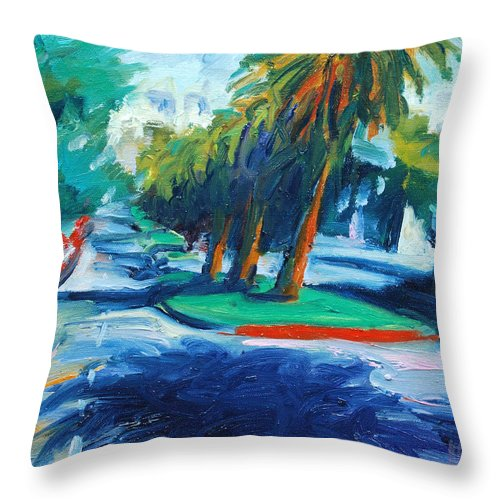 San Francisco Throw Pillow featuring the painting Downhill by Rick Nederlof