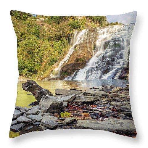 New York Throw Pillow featuring the photograph Downstream From Ithaca Falls by Karen Jorstad