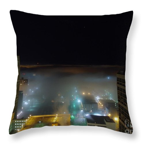 Photograph Throw Pillow featuring the photograph downtown Calgary2 by Seon-Jeong Kim