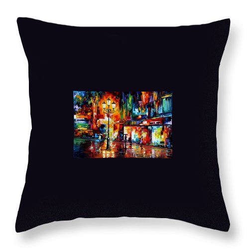 Afremov Throw Pillow featuring the painting Downtown Lights by Leonid Afremov