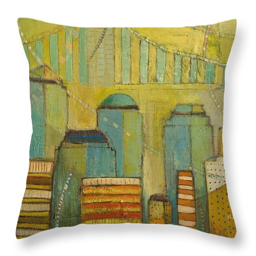 Abstract Colorful Cityscape Throw Pillow featuring the painting Downtown Manhattan by Habib Ayat