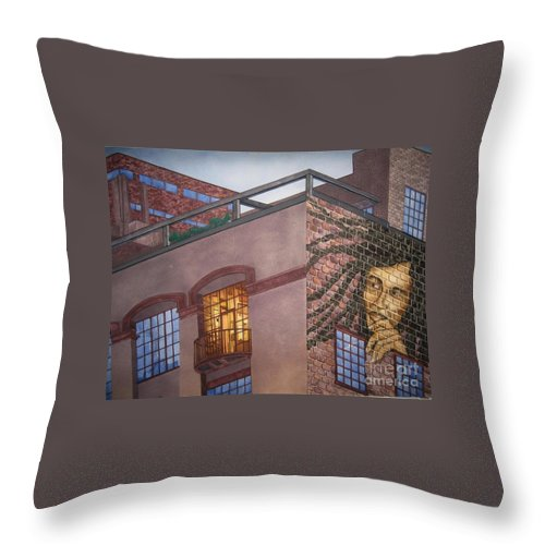 Throw Pillow featuring the painting Downtown Marley by JL Vaden