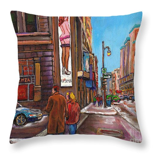 Montreal Throw Pillow featuring the painting Downtown Montreal Streetscene At La Senza by Carole Spandau