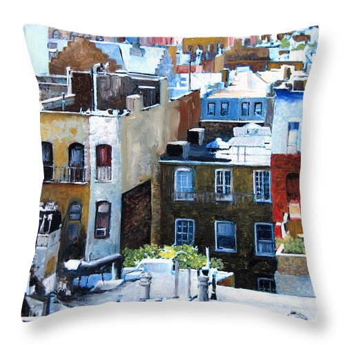 Ny City Throw Pillow featuring the painting Downtown Nyc Rooftops by Leonardo Ruggieri