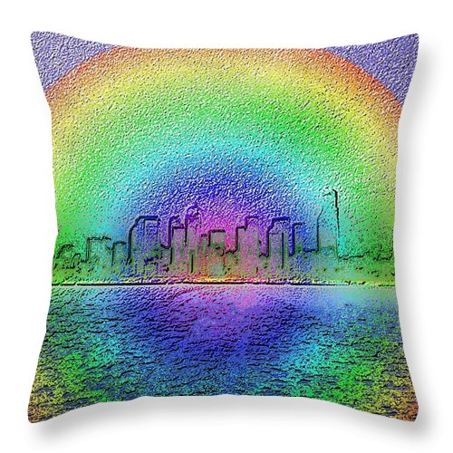 Seattle Throw Pillow featuring the photograph Downtown Rainbow In The Wake by Tim Allen