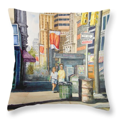 City Throw Pillow featuring the painting Downtown by Sam Sidders