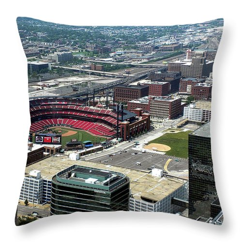 Red Birds Throw Pillow featuring the photograph Downtown St. Louis 2 by Thomas Woolworth