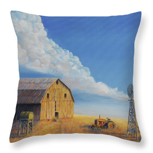 Barn Throw Pillow featuring the painting Downtown Wyoming by Jerry McElroy