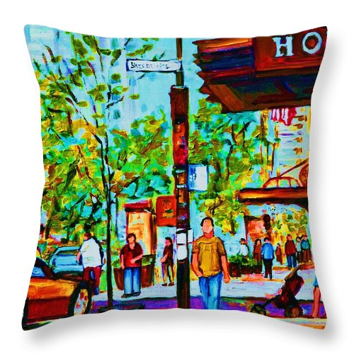 Montreal Streetscene Throw Pillow featuring the painting Downtowns Popping by Carole Spandau